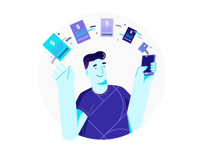 Your bills in one place. bill branding ui illustration mobile credit card creditcard automatic payment billing bills