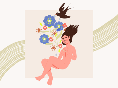 Inner beauty illustration digital digital art digitalart illustration art illustrator floral flowers inner beauty bird flower illustration