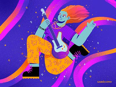 Rock'n'Roll, baby! rock girl music ilustrationart ilustração illustration guitar rock and roll