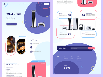 PS5 website concept web ui flat design