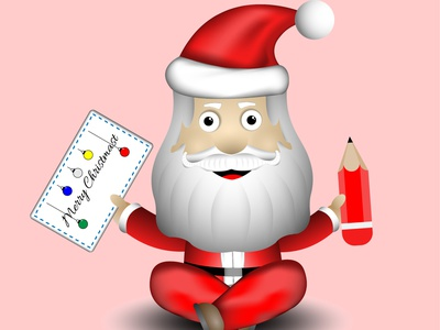 Santa Claus card pencils holiday cristmas santaclaus santa character 3d art illustrator cartoon icon art vector graphic design illustration design