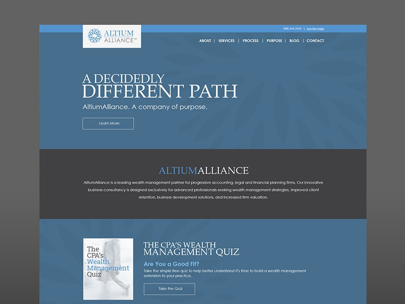 Altiumalliance ui design blue gray wealth management accounting legal financial planning business