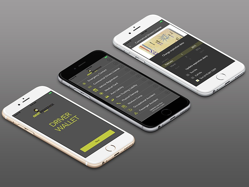 AvantApp mobile app app design ui design insurance broker