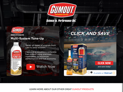 GumOut Product Landing Page fuel tune-up engine cars formula drift racing landing page web design ux ui ui design design