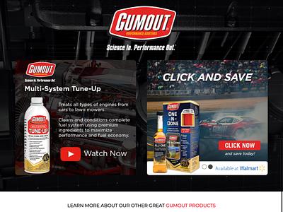GumOut Product Landing Page fuel tune-up engine cars formula drift racing landing page web design ux ui ui design design