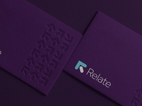 Relate logo and business card purple minimalist mockup stationery business card finance bank r monogram lettermarks lettermark logotype branding identity brand design logo