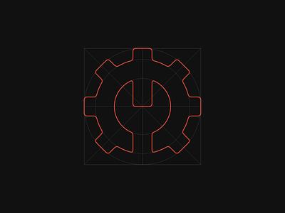 FirstFix Initial Logo Concept grid icon minimalist mechanical mep gear wrench fix mark branding identity brand design logo