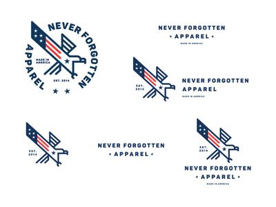 Never Forgotten Apparel Rebranding animal type flag patriotic usa eagle graphic design branding identity design logo rebranding