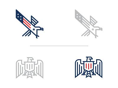 Patriotic Eagle - Top or Bottom? illustration icon minimalist america flag patriotic usa animal eagle branding design logo