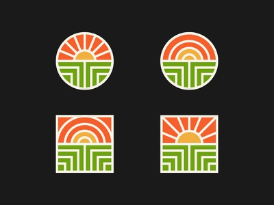 What do you see and which one is your favorite? badge nature earth t sun wordmark illustration minimal icon design logo