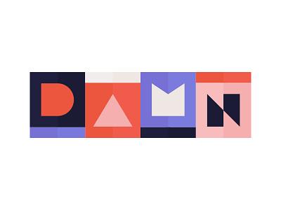 DAMN shapes geometric ui wordmark identity minimalist branding icon illustration logo playful colorful colors lettering typography type design poster damn