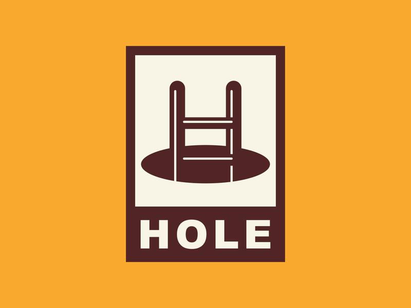 Hole + Ladder + H Concept badge vector icon minimalist playful illustration typography type lettermark monogram h stairs ladder hole branding identity brand design logo