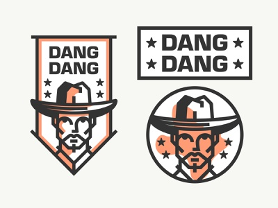 Dang Dang stars flag cowboy minimalist type typography icon illustration usa dang texas character logo face person character branding identity brand design logo
