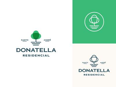 Logo Versions for Donatella Residencial logo design brand identity branding illustration icon type typography tree park plant brasil residence house minimalist logotype badge lockup