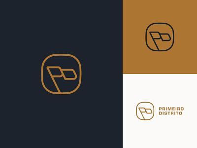 Primeiro Distrito Logo Design logotype badge app minimalist typography type lettermark monogram d p pd flag illustration icon branding identity brand design logo