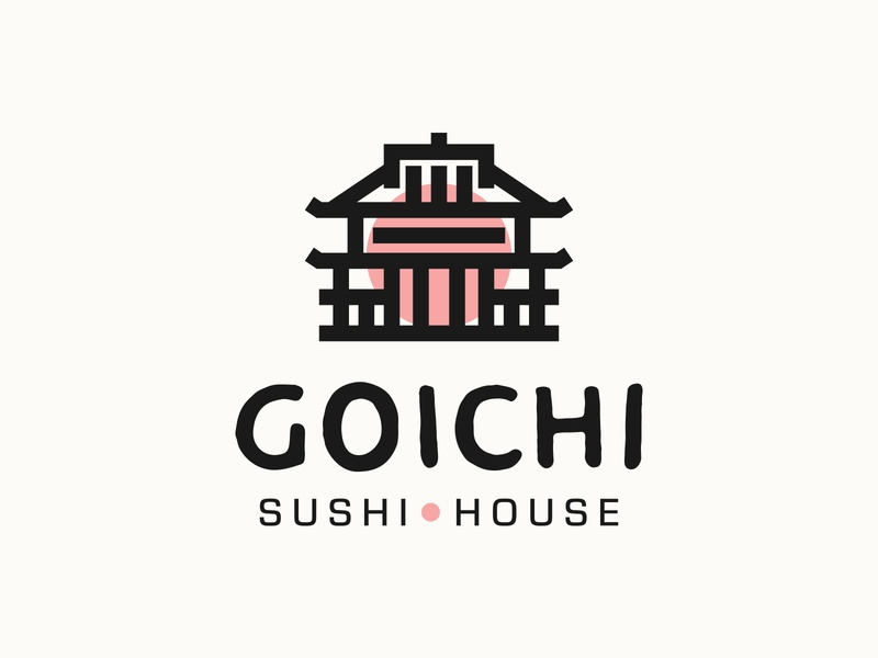 Goichi Sushi House food japanese food restaurant badge minimalist sushi japan house typography type logomark logotype icon illustration branding identity brand design logo
