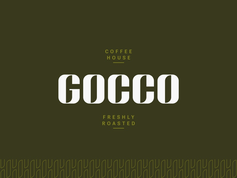 Gocco Coffee House Brand Identity coffee logo green letter illustration icon minimalist cafe coffee lettering typography type lettermark wordmark logotype pattern branding identity brand design logo