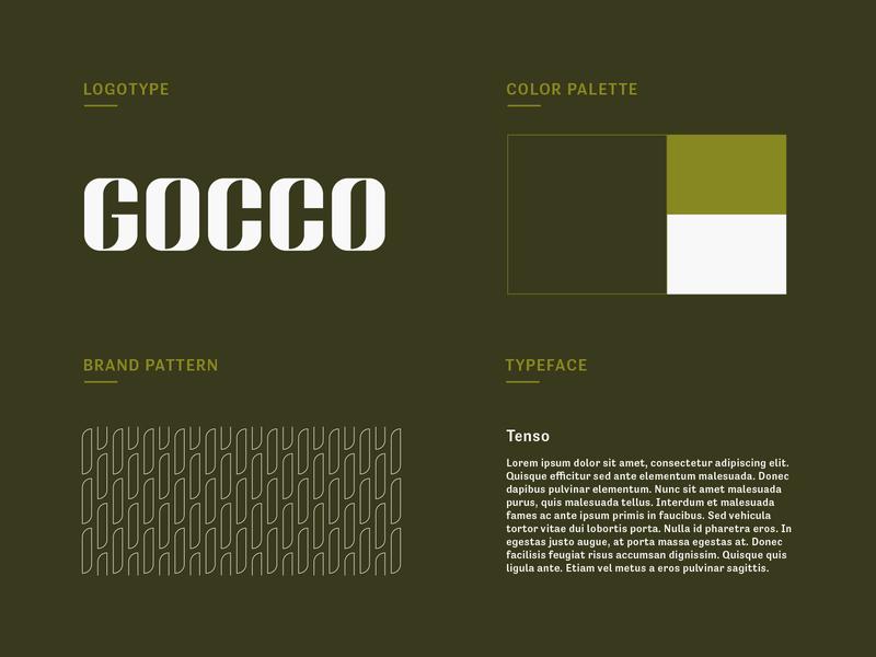 Gocco Coffee House StyleTile logo design brand identity branding pattern logotype wordmark lettermark type typography lettering coffee cafe minimalist icon illustration letter green coffee logo