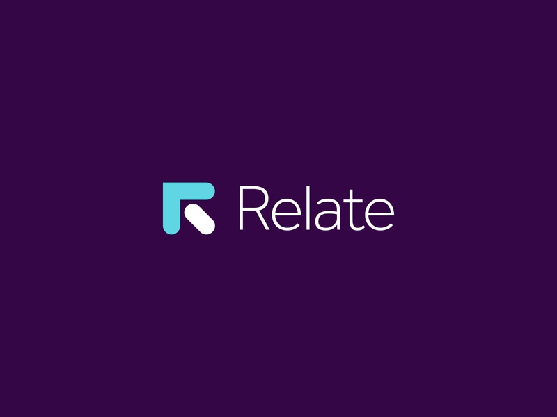 Brand Design For Relate minimalist purple lettering typography type lettermark fintech finance arrow transfer icon app payment relate r brand identity branding logo