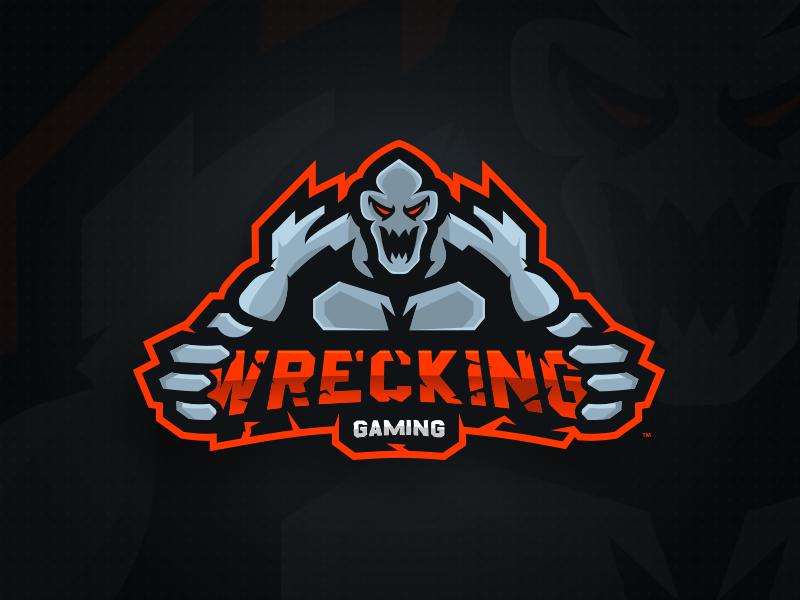Wrecking Gaming Primary Logo - Mascot Logo Design identity logo sports esports mascot man monster gaming wrecking