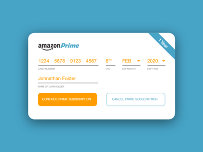 Amazon Prime Credit Card Checkout - #DailyUI #002
