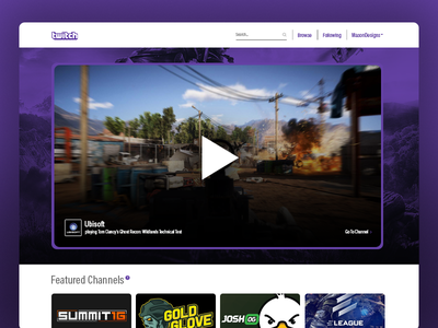 Twitch Landing Page - #DailyUI #003 design website live stream video contact page home landing page twitch ui daily ui