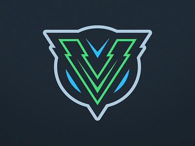 Letter V Logo Design arrow sea green neptune electric gaming esports sports design branding logo letter v