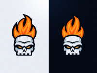 Skull on Fire - Mascot Logo Design