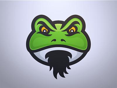 Father Frog - Mascot Logo Design lillypad swamp bullfrog gaming esports sports design lgoo mascot frog father
