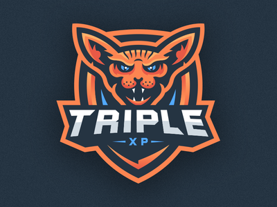 Sphinx Cat Mascot Logo - TripleXP typography branding sports league gaming esports txp triplexp logo mascot cat sphinx