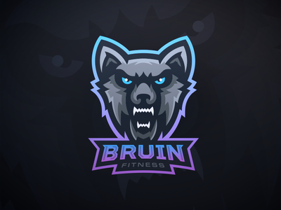 Bruin Fitness - Wolf Mascot Logo ears dog fangs teeth fitness gaming esports lgoo mascot wolf bruin