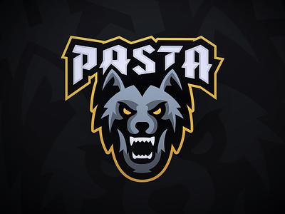 PastaOW - Wolf Mascot Logo twitch night gray typography howl gaming sports esports logo mascot wolf pasta