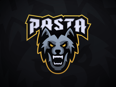 PastaOW - Wolf Mascot Logo twitch night gray typography howl gaming sports esports logo mascot wolf pasta