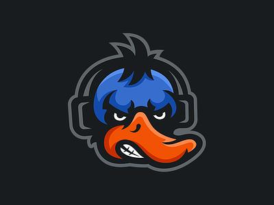 Zephox - Duck Mascot Logo Design angry quack headphones sports esports gaming design logo mascot duck