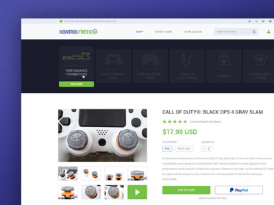 KontrolFreek Site Redesign (For Fun) controller e commerce content esports kontrolfreek app page product ux website ui site gaming