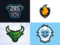 2018 - My Top Four Shots gaming esports sports branding shield flame dog pug bull yeti logos logo mascot 2018