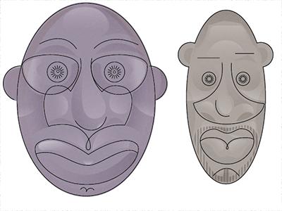 2 Faces vector adobe illustrator african american