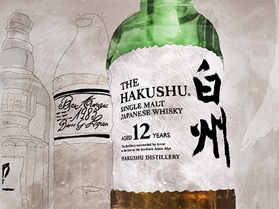 The Hakushu collage food  beverage illustration