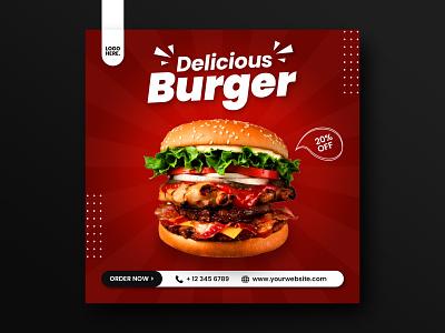 Food Menu Social Media Post Design Template burger restaurant menu food social media sale promotion layout advertisement banner ads