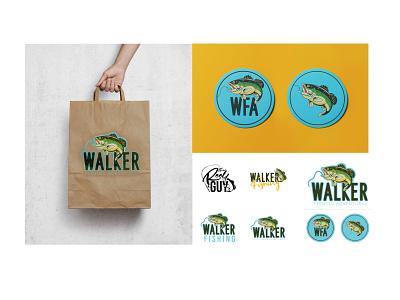 Walker Fishing Adventures adventure fishing logo design graphic design