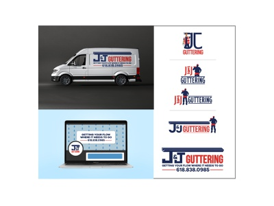 J&J Guttering construction guttering logo design graphic design