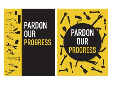 Pardon Our Progress tools yellow illustrator poster pardon our progress under construction graphic design
