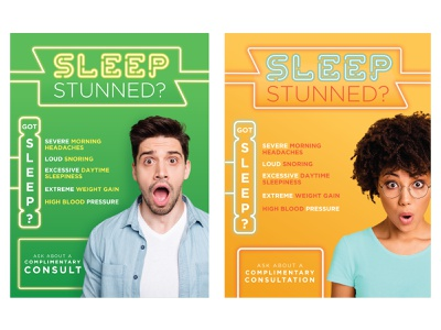 Sleep Stunned colorful neon dental sleep apnea sleep stunned poster graphic design