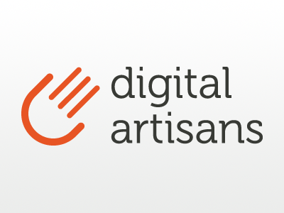 Digital Artisans Logo logo design hand artisans orange