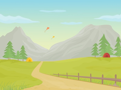 Mountain Landscape and Camping Area Vector Illustration vector illustration