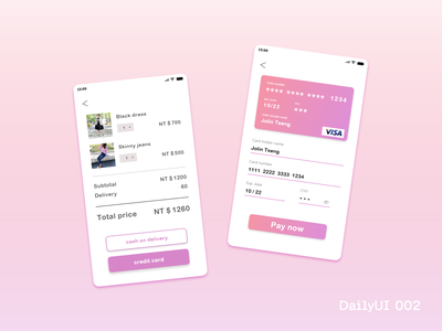DailyUI 002_Credit Card Checkout dailyui dailyui 002 adobe xd