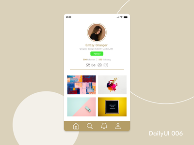 DailyUI 006_User Profile dailyui 006 dailyui adobe xd