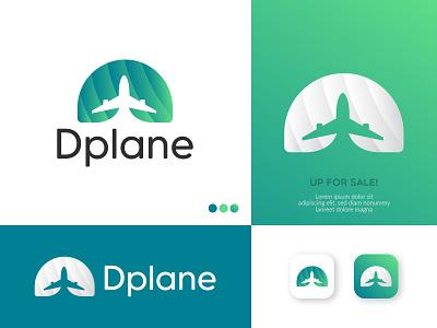 Dplane Logo. (Letter D + Plane) negative space logo brand identity design plane plane logo branding logo design