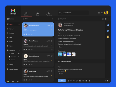 Gmail App Dark theme gmail apple mac macbook client email dark google uiux design mockup