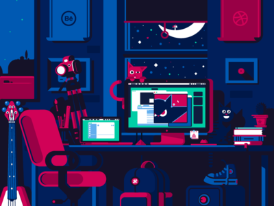Night Work... studio camera ios ux ui vector illustrator colors interface cats illustration flat